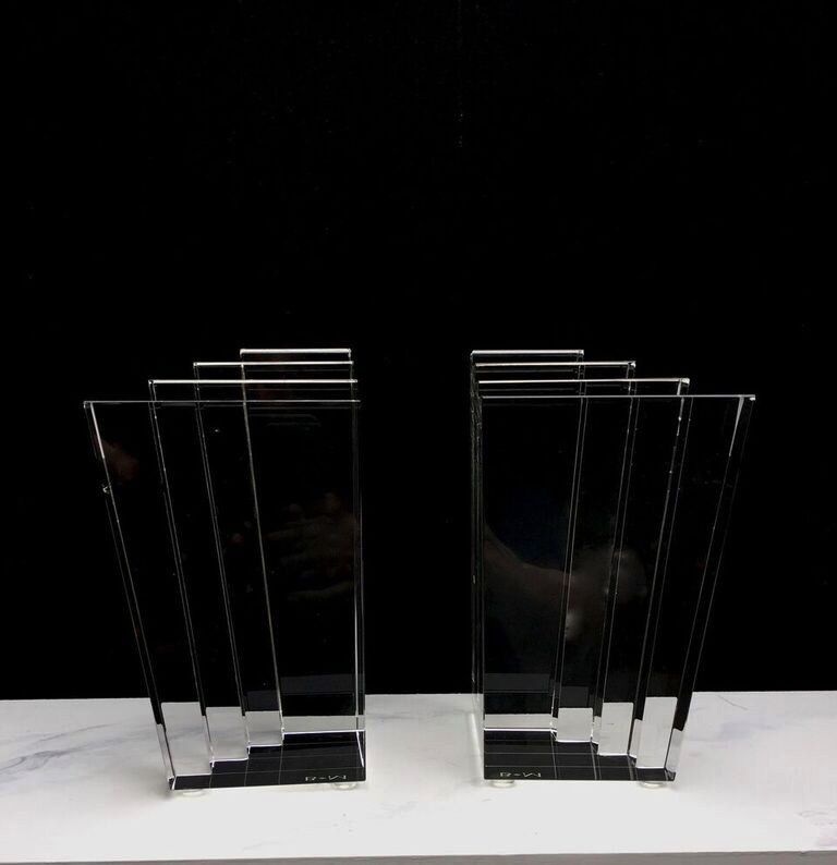 BECKER MINTY BECKER MINTY - Crystal Glass Step Bookends - Clear