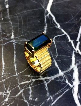 B.M.V.A. Vintage Tourmaline Dress Ring - 14ct Yellow Gold - Corner Claw Set - c1970