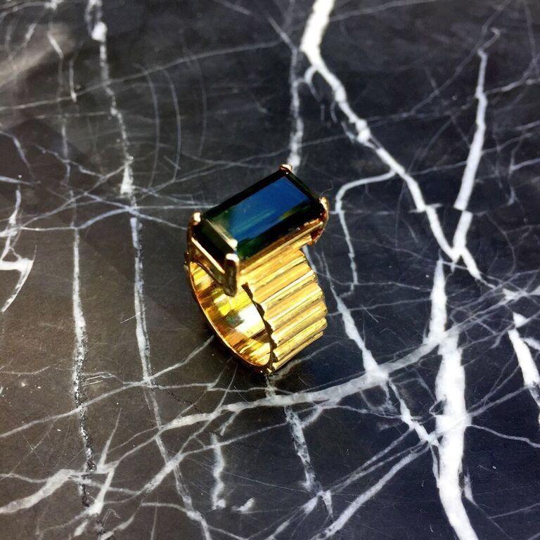 B.M.V.A. Vintage Tourmaline Dress Ring - 14ct Yellow Gold - Corner Claw Set - c1970
