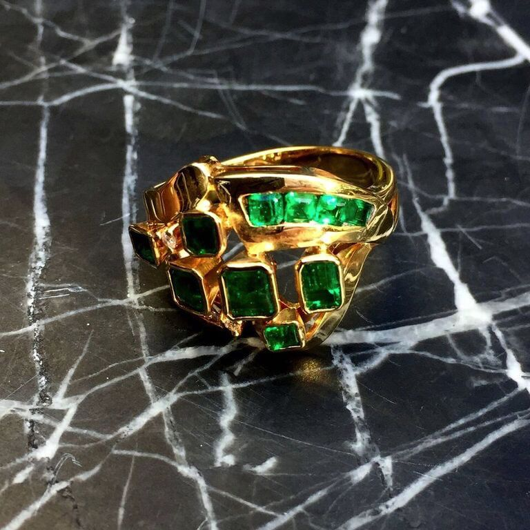 B.M.V.A. Vintage 18ct Yellow Gold, Emerald and Diamond Dress ring.