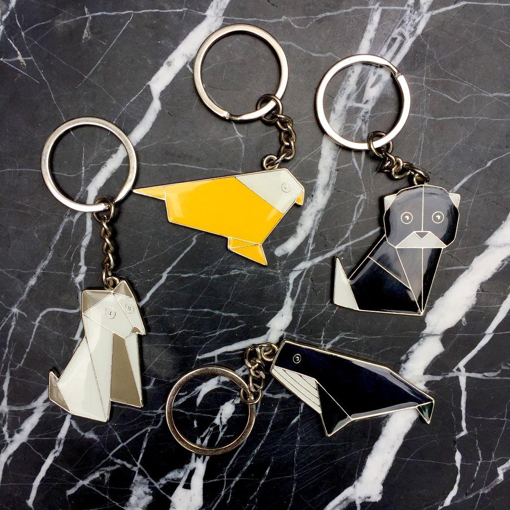 BECKER MINTY BECKER MINTY Origami Animal Key Ring - Grey Puppy Dog