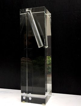 BECKER MINTY BECKER MINTY - Crystal Glass Single Stem Vase - Tall -Angled opening - Clear - 10x10x35cm
