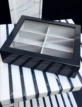BECKER MINTY - Black Apricot - Bow Tie and Sunglass Tray with Glass Lid (35x30x9cm) - Modular Jewellery and Accessory Tray