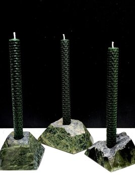 UNIQUE Faceted Seraphanite Candle Holder by  2 by Lyn&Tony - Includes Two Hand Rolled wax candles - Price is for one Candle Holder