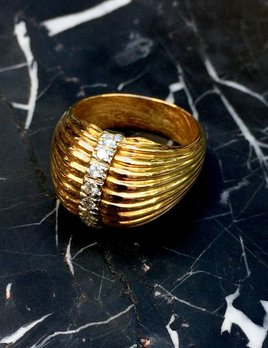 B.M.V.A. Vintage 18ct Yellow Gold and Diamond Ring - Ribbed Dome Style c1970
