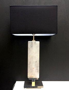 Giuliano Tincani Natural Clear Quartz Crystal Table Lamp - rectangular body - Nickel Plated Brass Base 74cm tall