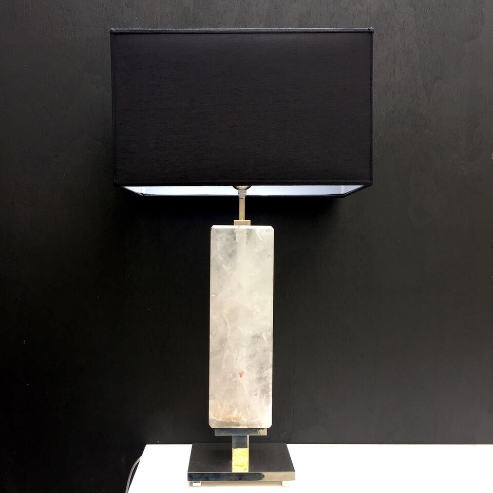 Giuliano Tincani Natural Clear Quartz Crystal Table Lamp - rectangular body - Nickel Plated Brass Base 74cm tall