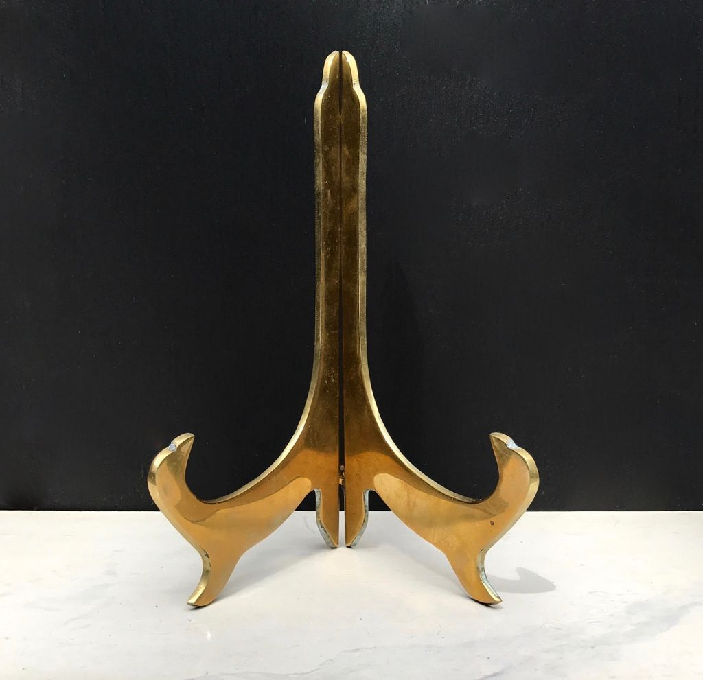 Vintage Brass Plate Stand - Oriental Style