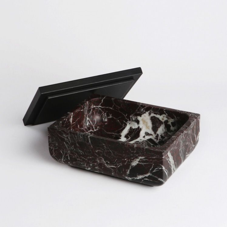 Michael Verheyden Michael Verheyden - Rosso Levanto Marble Secret Box with Leather covered Lid - thick edge and round corners - various marble colours available - W25xH11xD19cm
