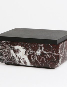 Michael Verheyden Michael Verheyden - Rosso Levanto Marble Secret Box with Leather covered Lid - thick edge and round corners - various marble colours available - W35xH11xD25cm