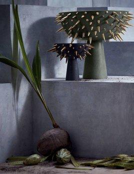 L'Objet L'Objet - Celestial Bowl on Stand - XLarge - D53xH40cm - Gold on Green Earthenware