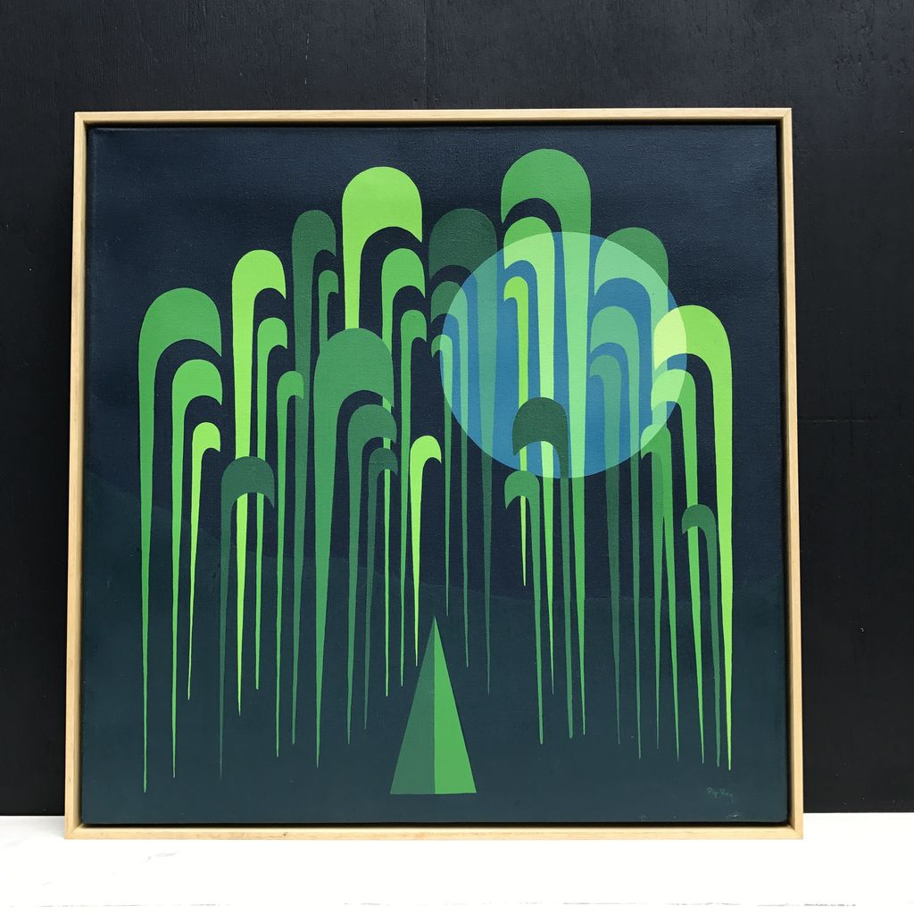 Vintage Artwork - Green - Pip Roy 1980's Style - Natural Timber Shadow Frame 63x63cm (Framed)
