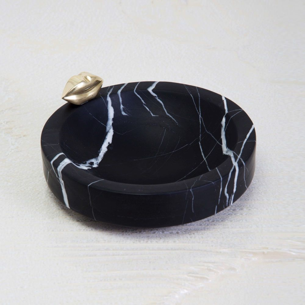 Kelly Wearstler Kelly Wearstler - Medium Liaison Catch All Dish - Negro Marquina Marble with Burnished Bronze - 20x3.8cm