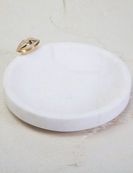 Kelly Wearstler Kelly Wearstler - Medium Liaison Catch All Dish - White Calacatta Marble with Burnished Bronze - 20x3.8cm