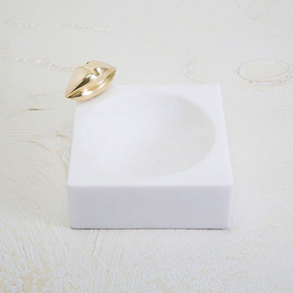 Kelly Wearstler Kelly Wearstler - Liaison Dish - White Calacatta Marble with Burnished Bronze - 15x6x4.5cm