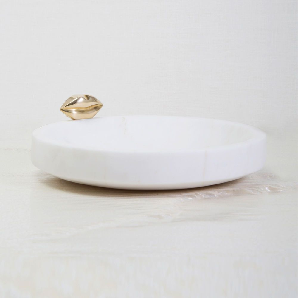 Kelly Wearstler Kelly Wearstler - Small Liaison Catch All Dish - White Calacatta Marble with Burnished Bronze  - 13.5x3cm