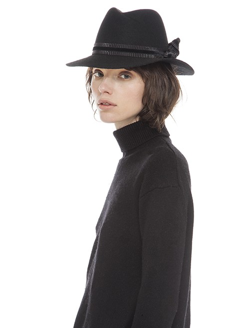 Sarah J Curtis Elegance - Fedora with velvet band - Blk - 100% Australian Merino Wool with Silk Lining - One size