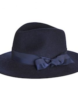 Sarah J Curtis Indigo Love - Fedora with textured ribbon - Navy - 100% Australian Merino Wool with Silk Lining - One size