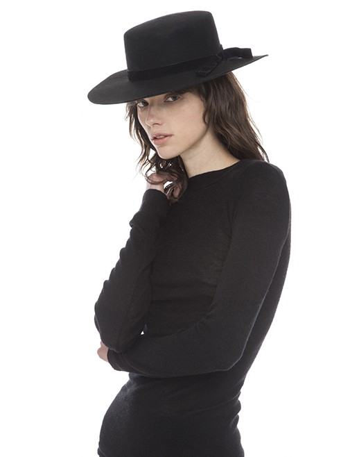 Sarah J Curtis The Classic - Boater Hat with Classic Plush Velvet Bow - Blk - 100% Australian Merino Wool with Silk Lining - One size