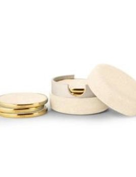 Aerin AERIN - Cream Embossed Shagreen Coaster Set