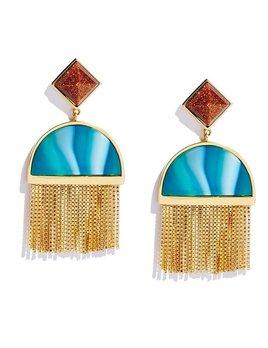 Sarah Magid Sarah Magid - Sunset Tassel Earrings - Brass Gold Plated - Blue and Rust Agate