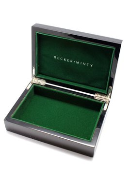 BECKER MINTY - Black Rectangular Lacquer Box - Green velvet interior with metallic logo - black outer box - 18x12x5cm