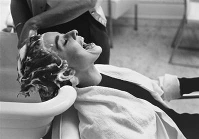Mark Shaw Photography - Audrey Hepburn Getting Shampooed and Laughing
