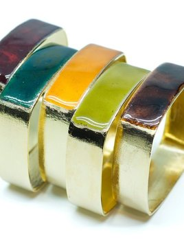 Alquimia Alquimia - Square Bracelet with Enamel - Gold plated copper - Assorted colours - 2cm - Handmade in Paris