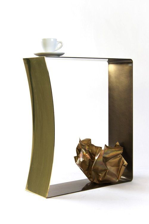 gentner Gentner Design - RIBBON STOOL - Polished Stainless Steel or Darkened Brass