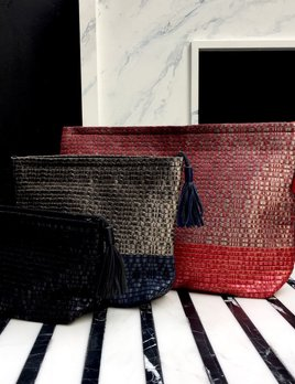 Atelier Nihal Large Atelier Nihal - Toiletry/Cosmetic Pouch in Handwoven Leather