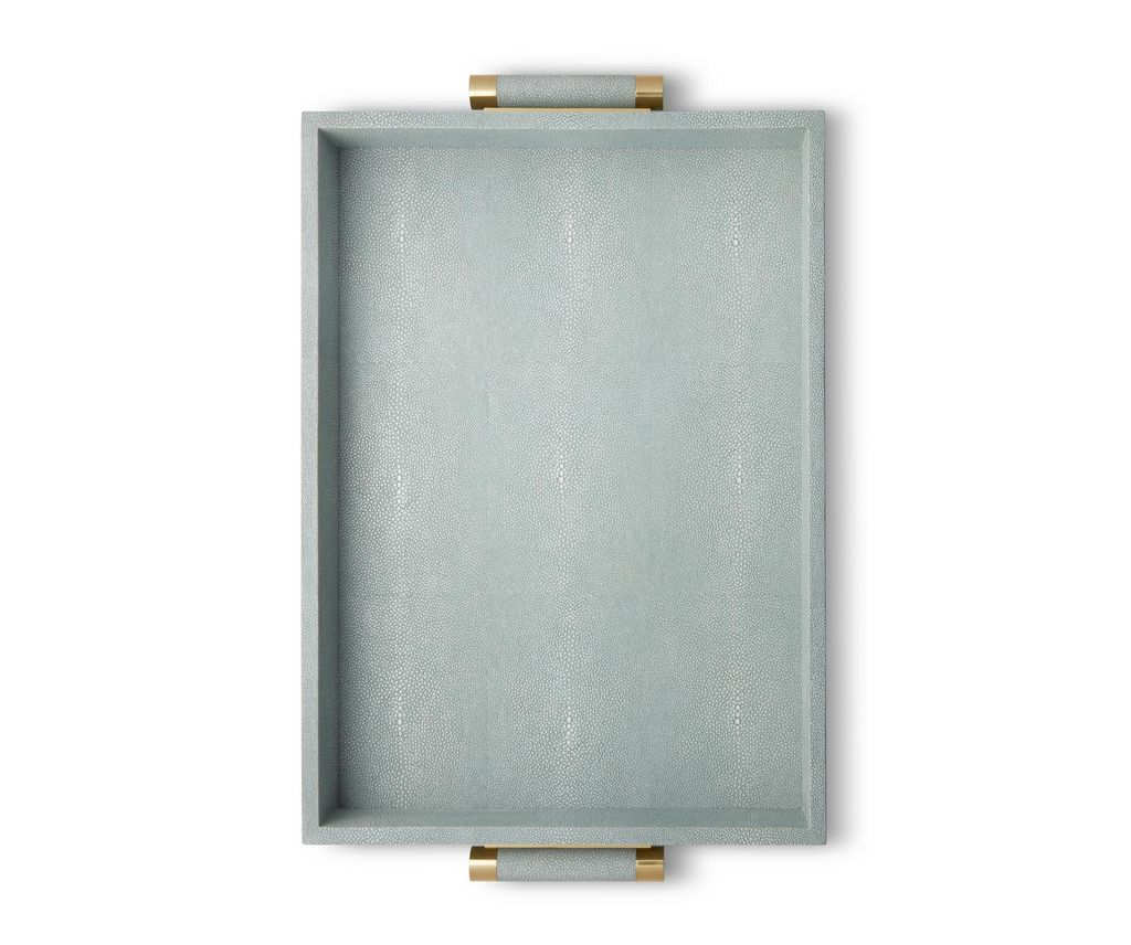 Aerin AERIN - Classic Embossed Shagreen Serving Tray - Mist - 51x37x6.5cm