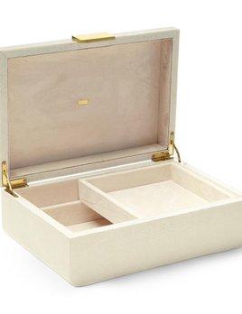 "Aerin AERIN - Modern Shagreen Jewellery Box - 12.5"" x 8.5"" x 4.5"" (large) - Cream"