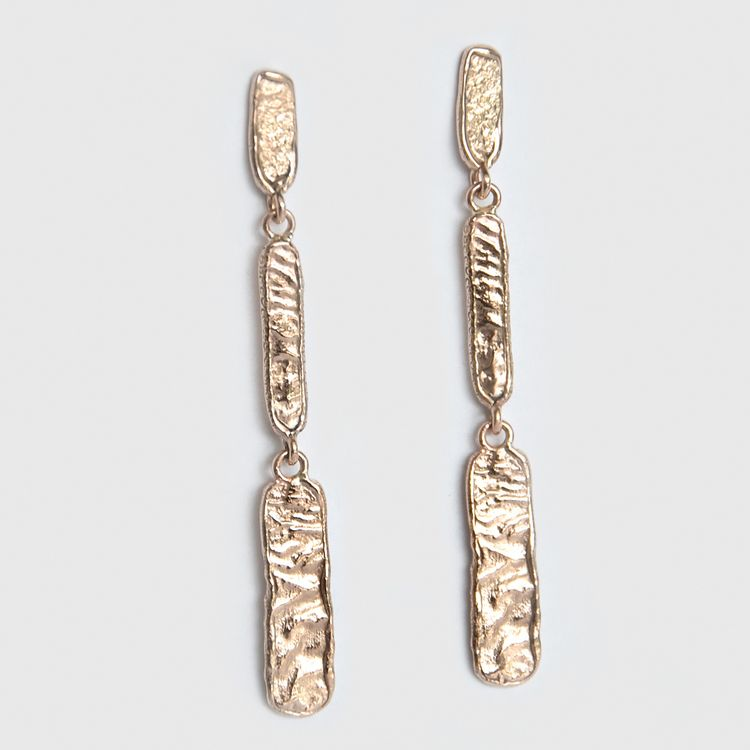 Mia Chicco - Afinia Drop Earrings - 9ct Rose Gold and Reticulated Texture Drop Earrings