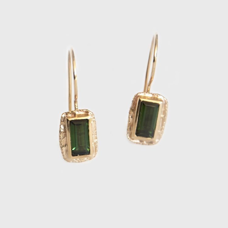 Mia Chicco - Lucilla Drop Earrings  - 9ct Rose Gold with Bezel Set Blue/Green Tourmaline - 1.5ct Total