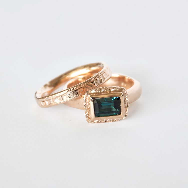 Mia Chicco - Lucilla Ring  - 9ct Rose Gold Ring with Blue/Green Tourmaline - 1ct
