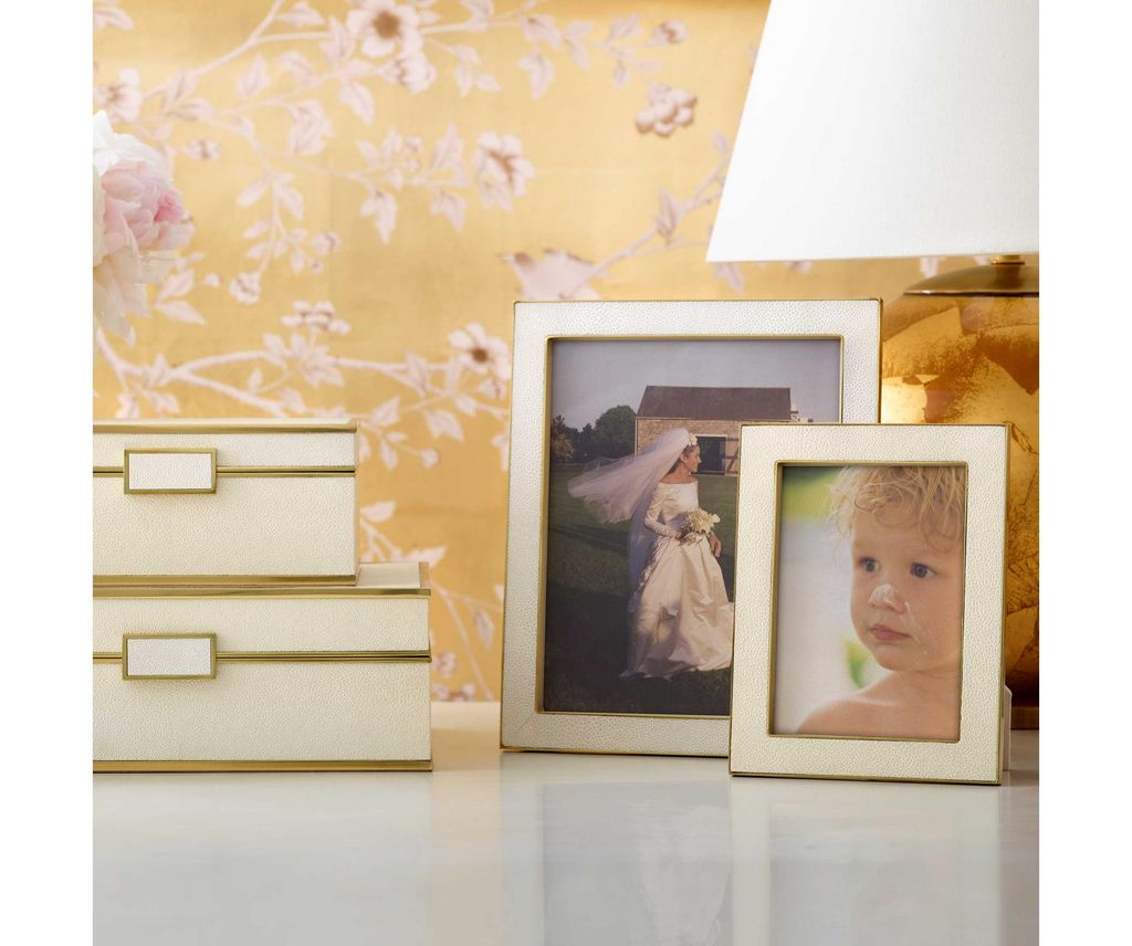 Aerin AERIN - Classic Embossed Shagreen Frame - Cream - 4x6""