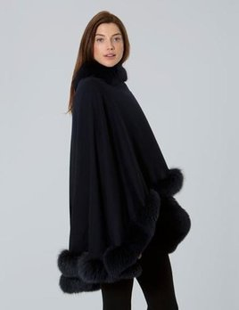 Sofia Cashmere Pure Cashmere Oversize Wrap Cape Trimmed with Finnish Dyed Fox - Navy