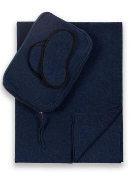 Sofia Cashmere Pure Cashmere Romagna 2 Ply Jersey Knit Travel Set - Navy
