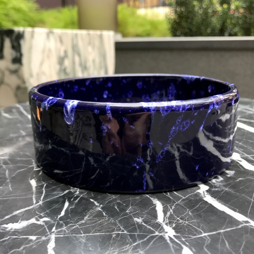 BECKER MINTY Vintage Marei Keramik Blue Fat Lava Bowl D13xH4.5cm - Germany c1960