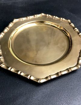 Vintage Small Brass Faux Bamboo Edge Side Plates D16.5cm