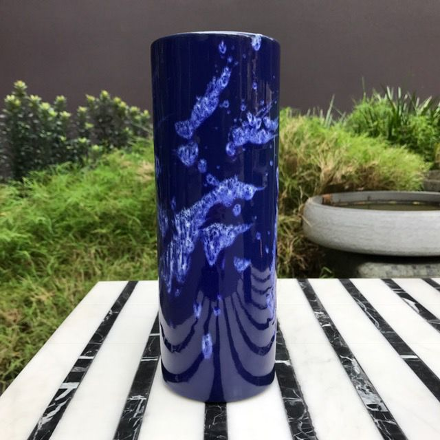 BECKER MINTY Vintage Marei Keramik Blue Fat Lava Vase - H23.5xD8.5cm - Germany