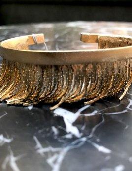 Eneida Franca EF Fringe Cuff - Adjustable - Gold Plated Brass - Brasil