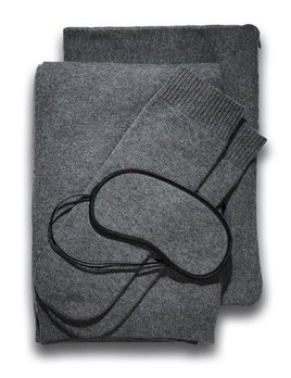 BECKER MINTY Pure Cashmere Romagna 2 Ply Jersey Knit Travel Set - Dark Grey