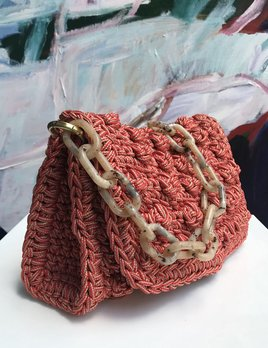 One & Only One & Only - Hand-crafted crochet bubble shoulder bag - Coral