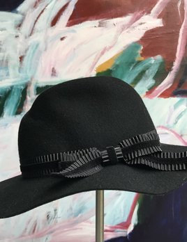 Sarah J Curtis Elegance - Fedora with velvet band - Blk - 100% Australian Merino Wool with Silk Lining - One size