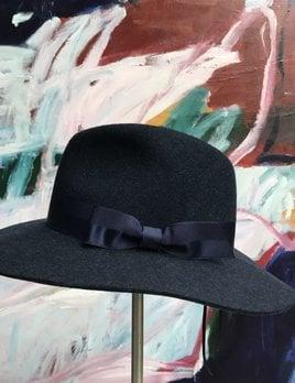 Sarah J Curtis Indigo Love - Fedora with textured ribbon - Navy - 100% Australian Merino Wool with Silk Lining - One size