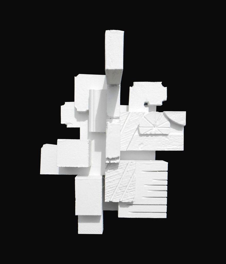 Dan Schneiger Haiku 3.5 - Dan Schneiger Geometric Wall Sculpture - White Rubber - 20.5x25.5cm
