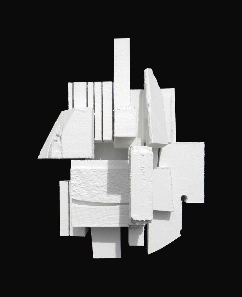 Dan Schneiger Haiku 3.4 - Dan Schneiger Geometric Wall Sculpture -White Rubber - 20.5x25.5cm -