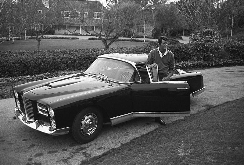Dean Martin And His Facel Vega Hk500 In The Driveway Of