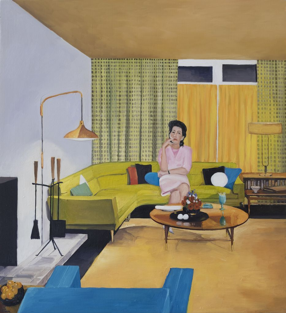 Mid-Century Interior with Bored Housewife 2017 - James King - 50x45cm